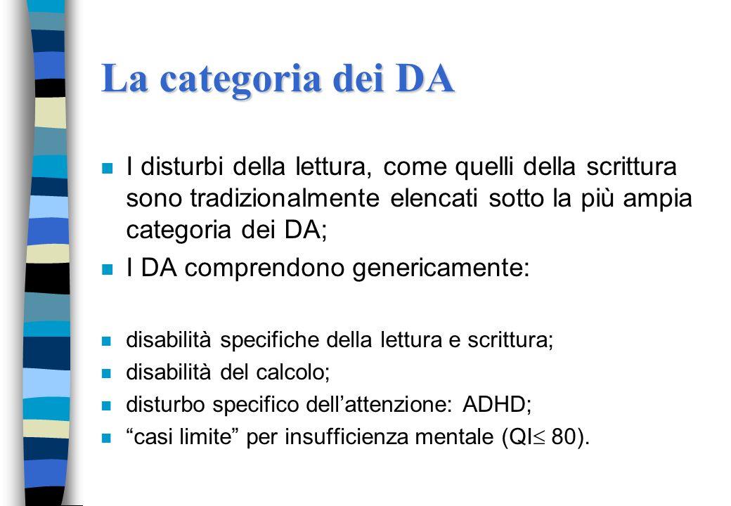 La categoria dei DAI disturbi della lettura, come quelli della scrittura sono tradizionalmente elencati sotto la più ampia categoria dei DA;