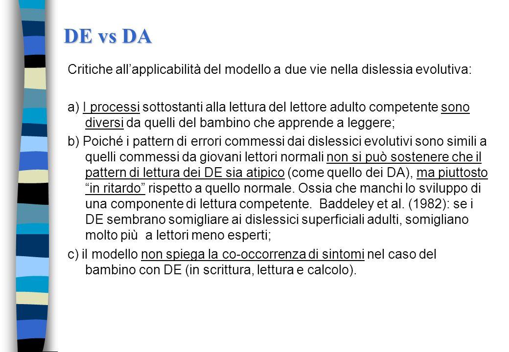DE vs DA Critiche all'applicabilità del modello a due vie nella dislessia evolutiva:
