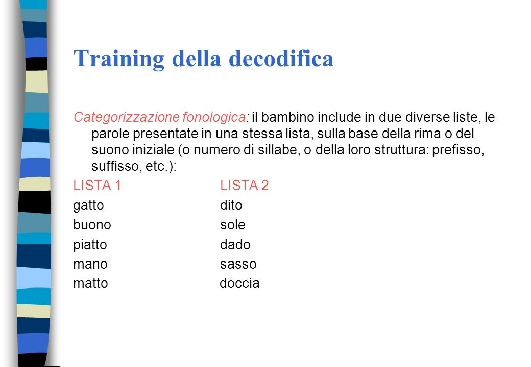 Training della decodifica