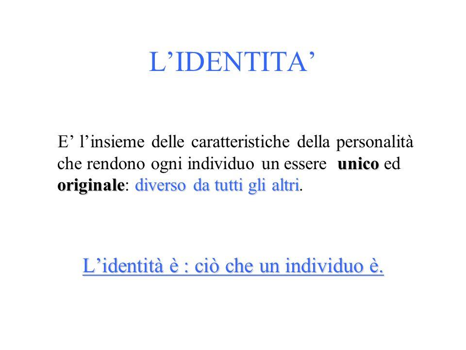 L'identità è : ciò che un individuo è.