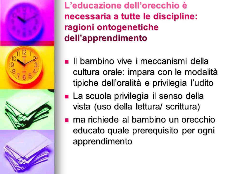 L'educazione dell'orecchio è necessaria a tutte le discipline: ragioni ontogenetiche dell'apprendimento