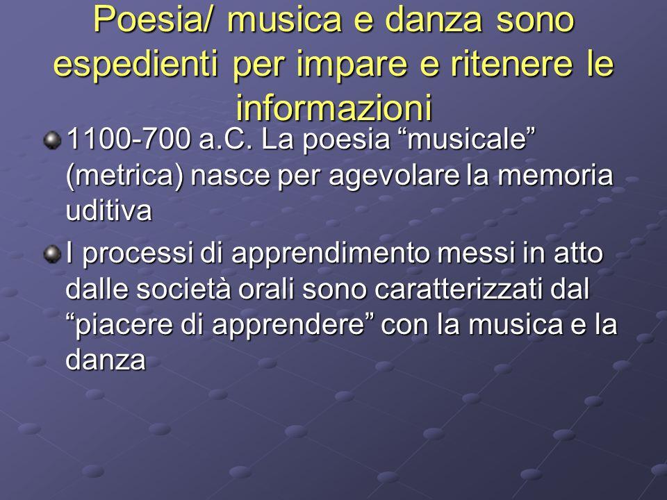 Poesia/ musica e danza sono espedienti per impare e ritenere le informazioni