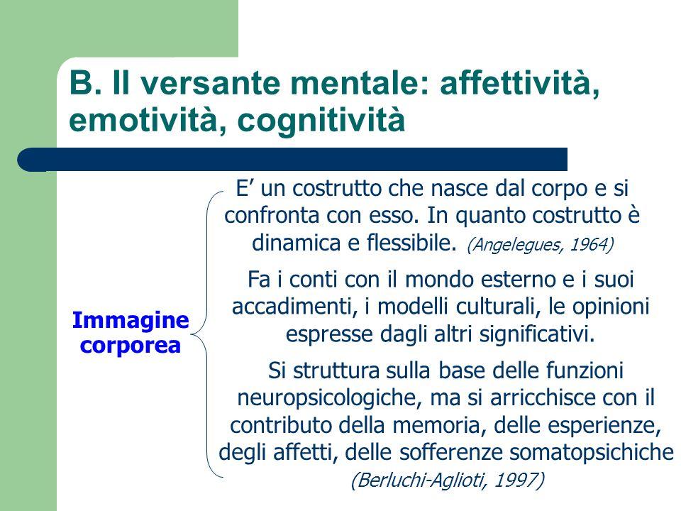 B. Il versante mentale: affettività, emotività, cognitività