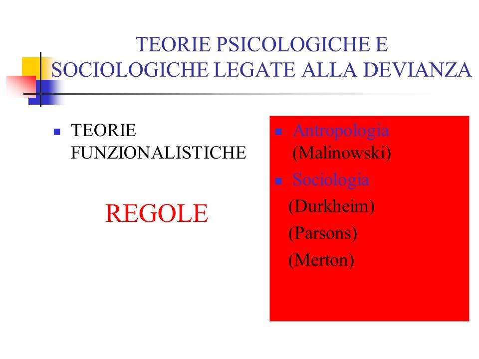 TEORIE PSICOLOGICHE E SOCIOLOGICHE LEGATE ALLA DEVIANZA