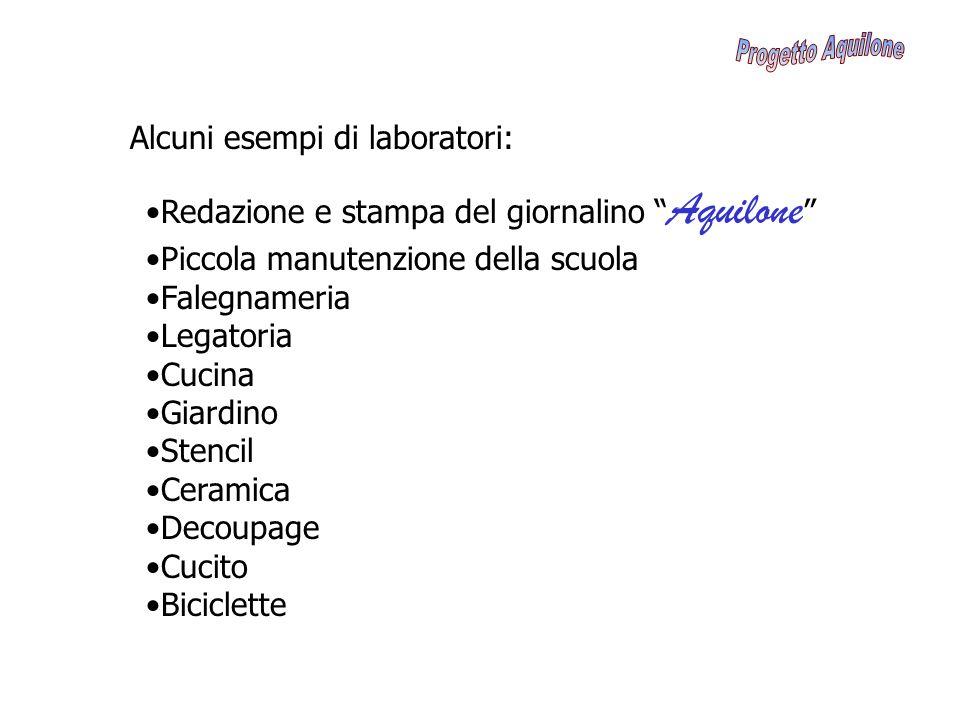 Progetto Aquilone Alcuni esempi di laboratori: