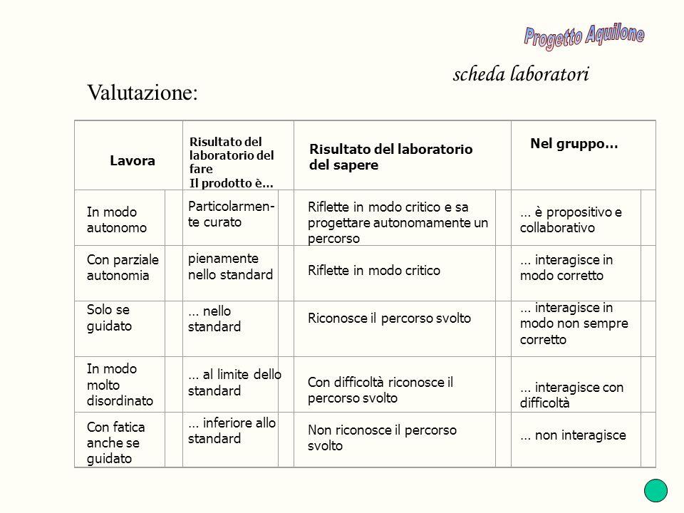 Progetto Aquilone scheda laboratori Valutazione: Nel gruppo…