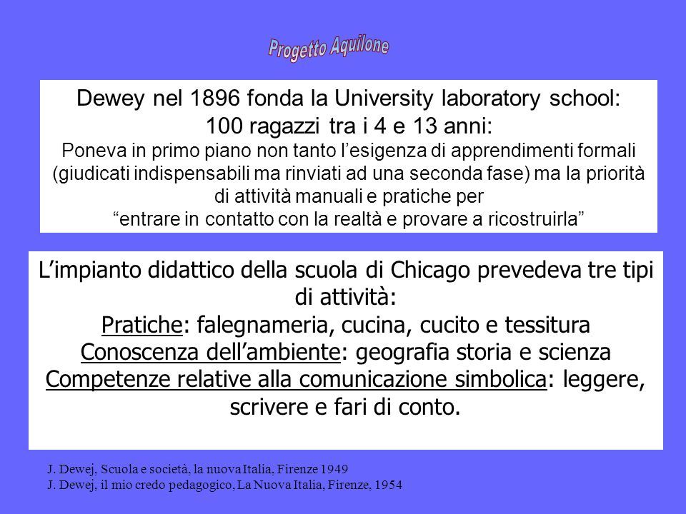 Progetto Aquilone Dewey nel 1896 fonda la University laboratory school: 100 ragazzi tra i 4 e 13 anni: