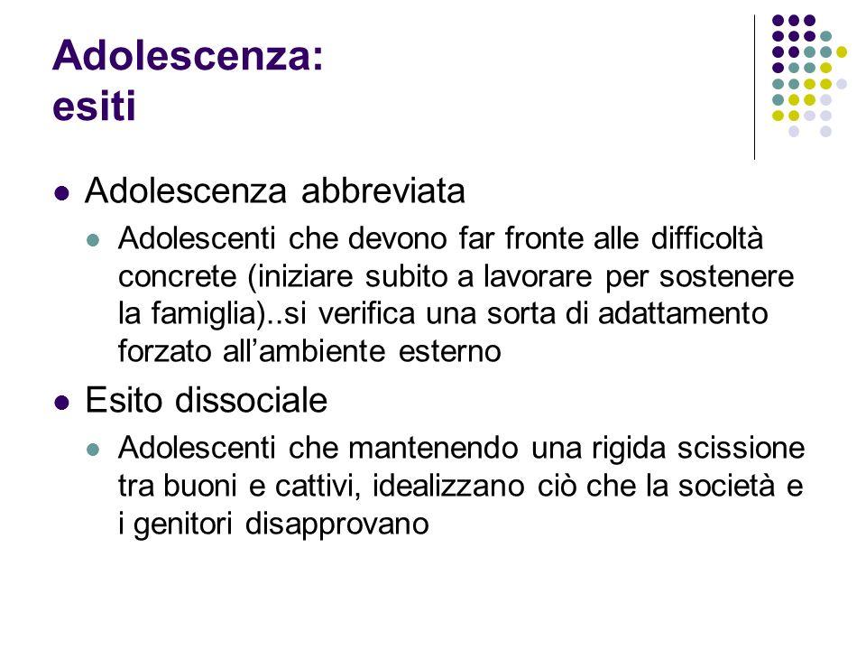 Adolescenza: esiti Adolescenza abbreviata Esito dissociale