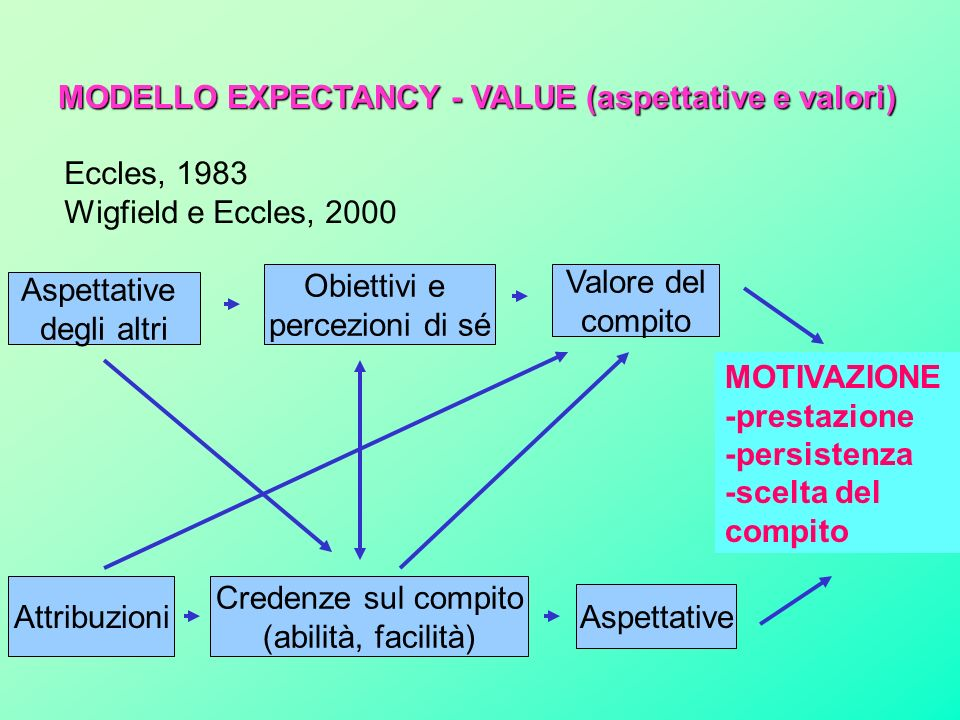 MODELLO EXPECTANCY - VALUE (aspettative e valori)
