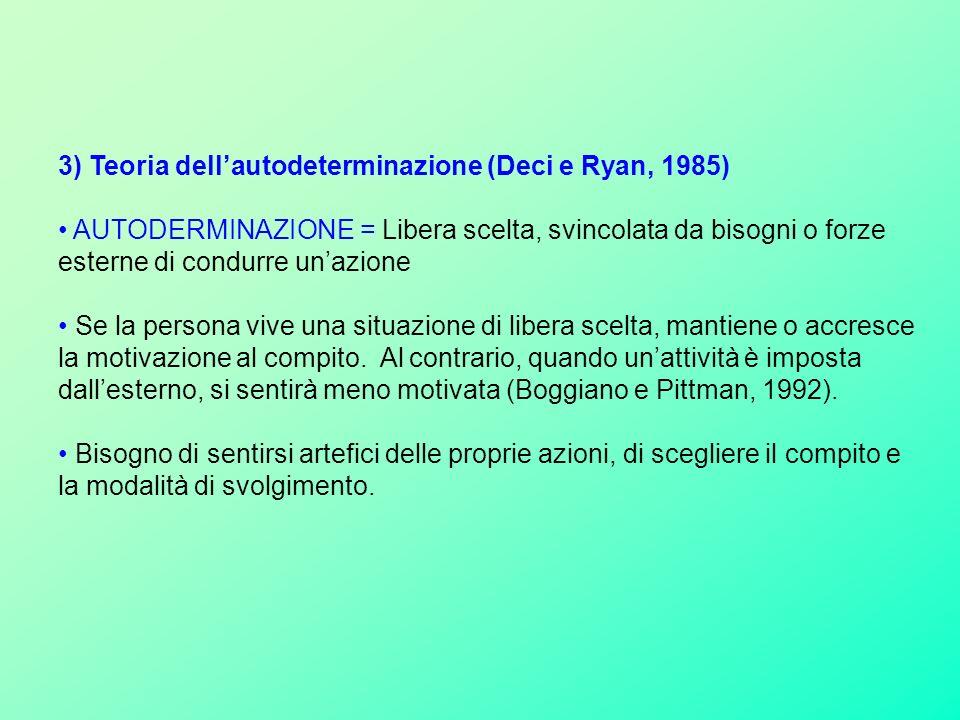 3) Teoria dell'autodeterminazione (Deci e Ryan, 1985)