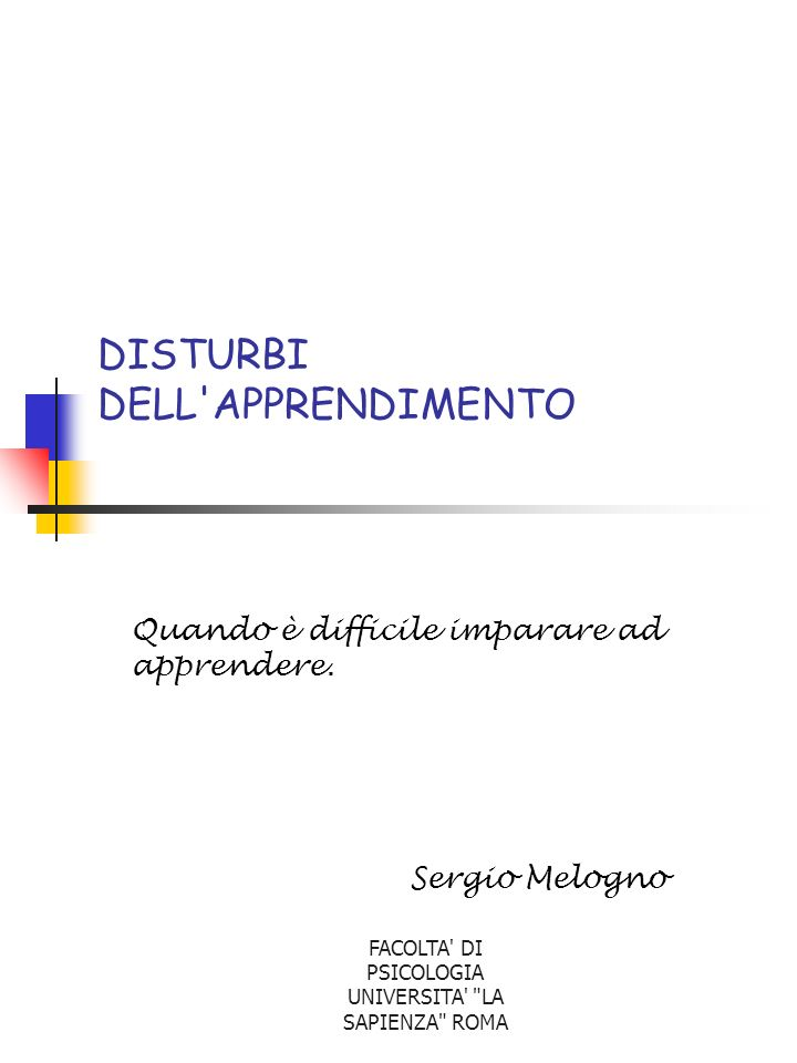 DISTURBI DELL APPRENDIMENTO