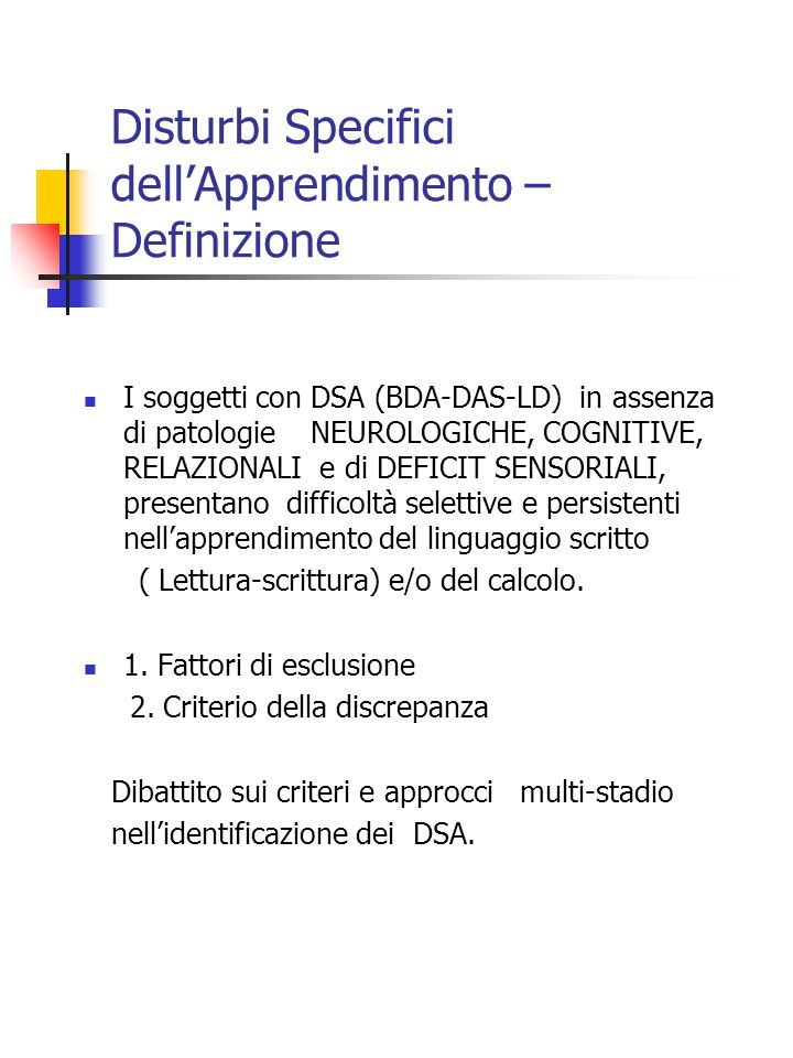 Disturbi Specifici dell'Apprendimento – Definizione