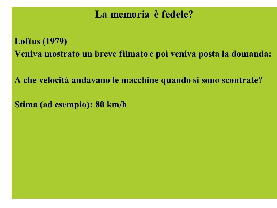 La memoria è fedele Loftus (1979)