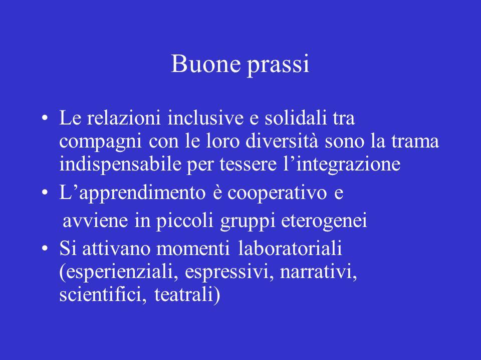 Buone prassi Le relazioni inclusive e solidali tra compagni con le loro diversità sono la trama indispensabile per tessere l'integrazione.
