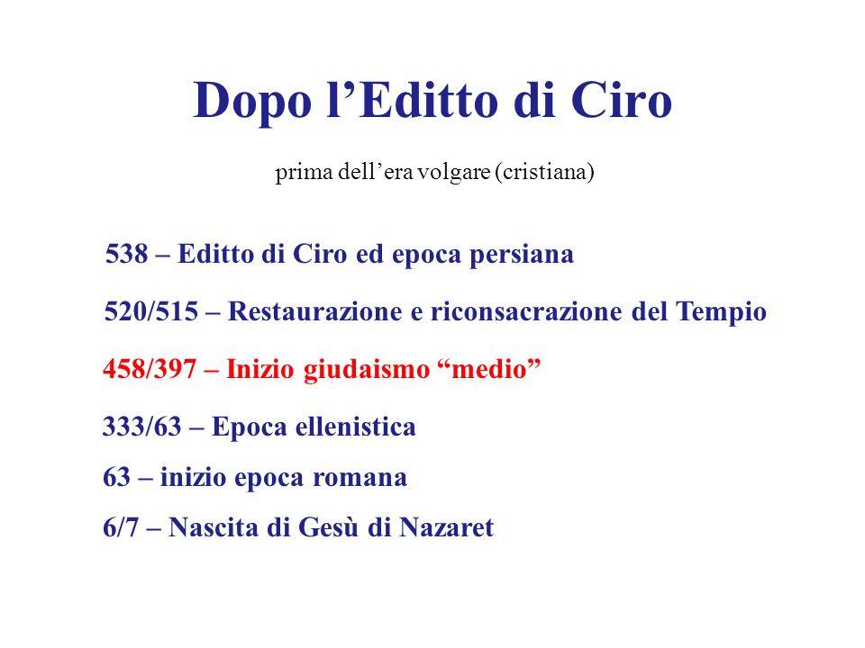 Dopo l'Editto di Ciro 538 – Editto di Ciro ed epoca persiana