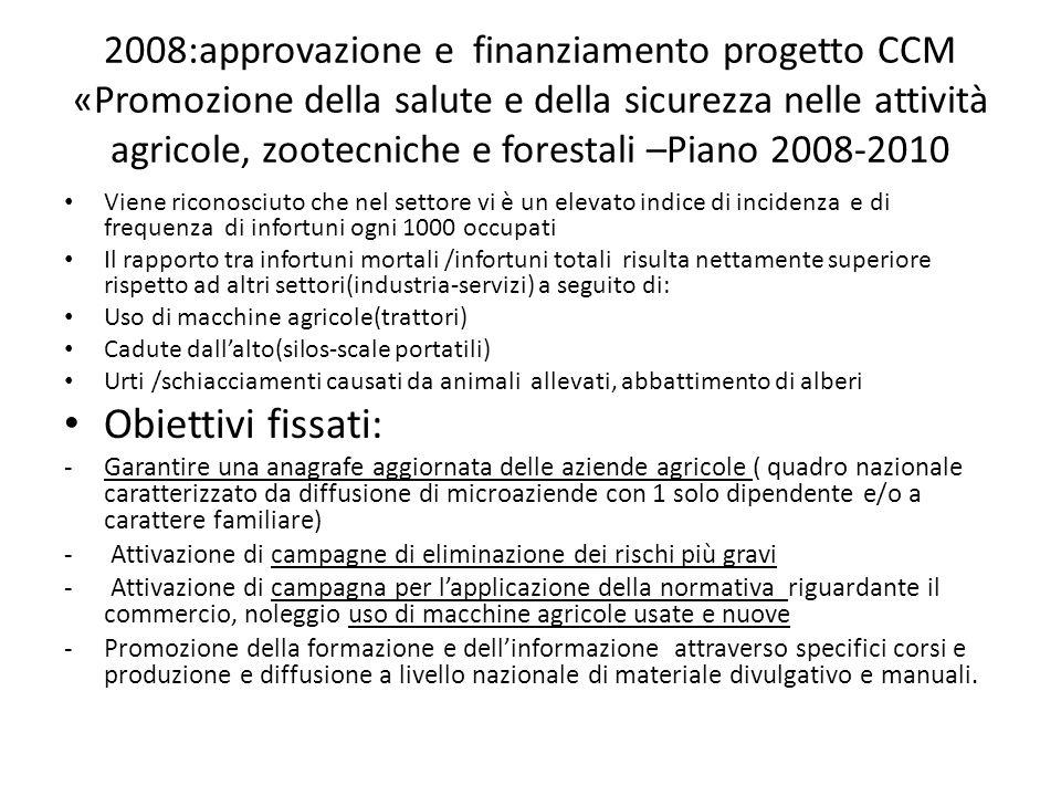 2008:approvazione e finanziamento progetto CCM «Promozione della salute e della sicurezza nelle attività agricole, zootecniche e forestali –Piano 2008-2010