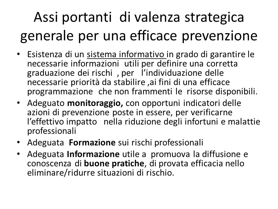 Assi portanti di valenza strategica generale per una efficace prevenzione