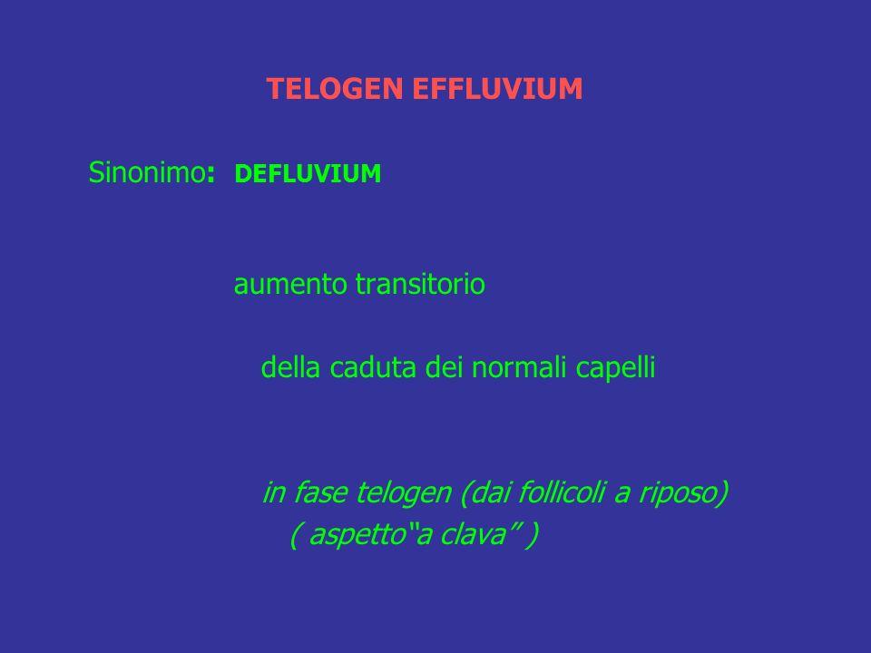 TELOGEN EFFLUVIUM Sinonimo: DEFLUVIUM. aumento transitorio. della caduta dei normali capelli. in fase telogen (dai follicoli a riposo)
