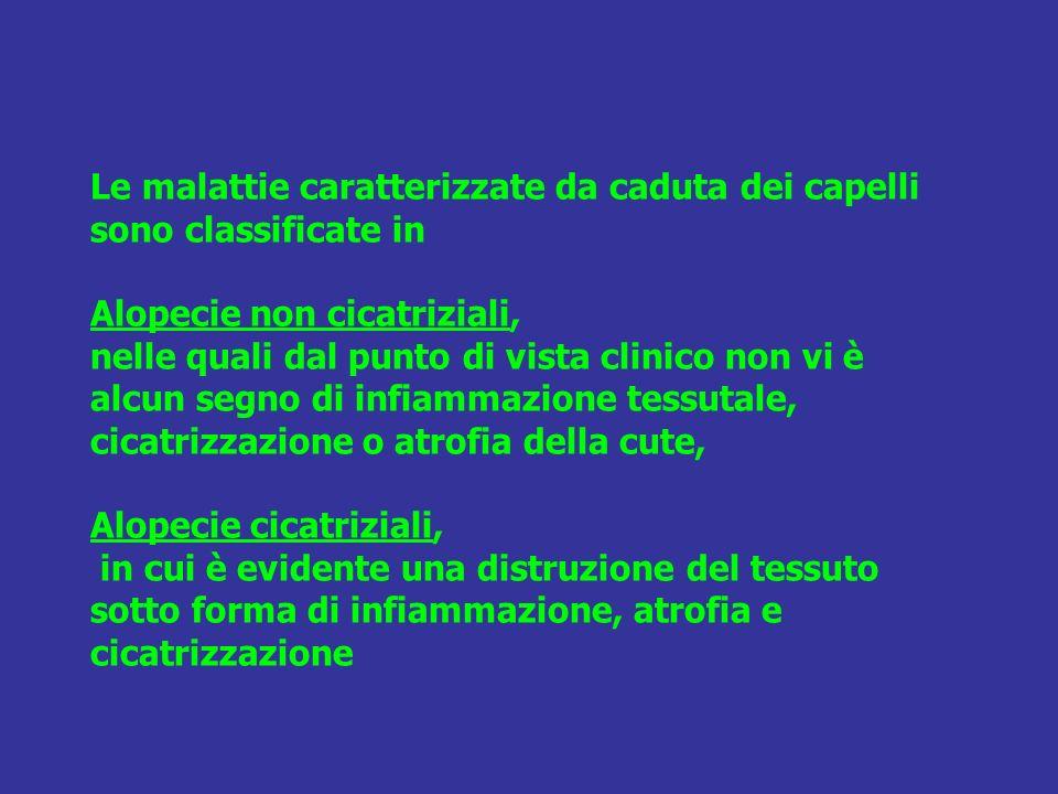 Le malattie caratterizzate da caduta dei capelli sono classificate in Alopecie non cicatriziali, nelle quali dal punto di vista clinico non vi è alcun segno di infiammazione tessutale, cicatrizzazione o atrofia della cute, Alopecie cicatriziali, in cui è evidente una distruzione del tessuto sotto forma di infiammazione, atrofia e cicatrizzazione