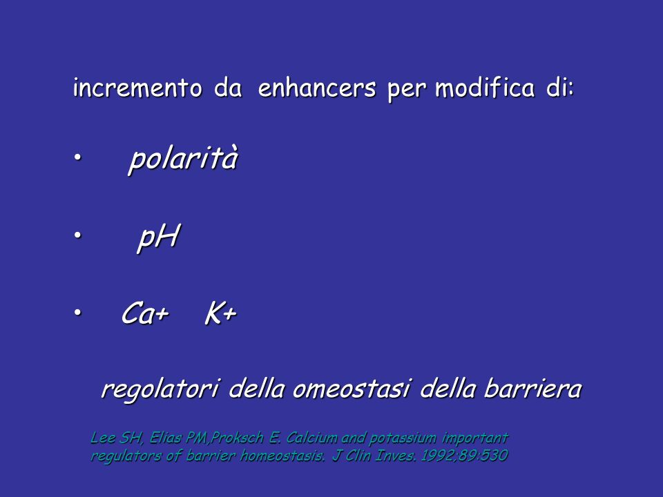 polarità pH Ca+ K+ incremento da enhancers per modifica di: