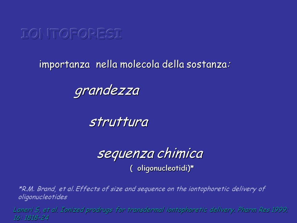 IONTOFORESI struttura sequenza chimica
