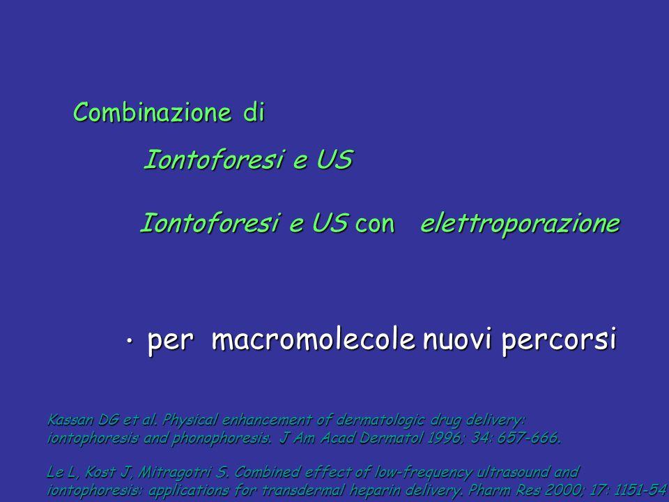 Combinazione di Iontoforesi e US Iontoforesi e US con elettroporazione