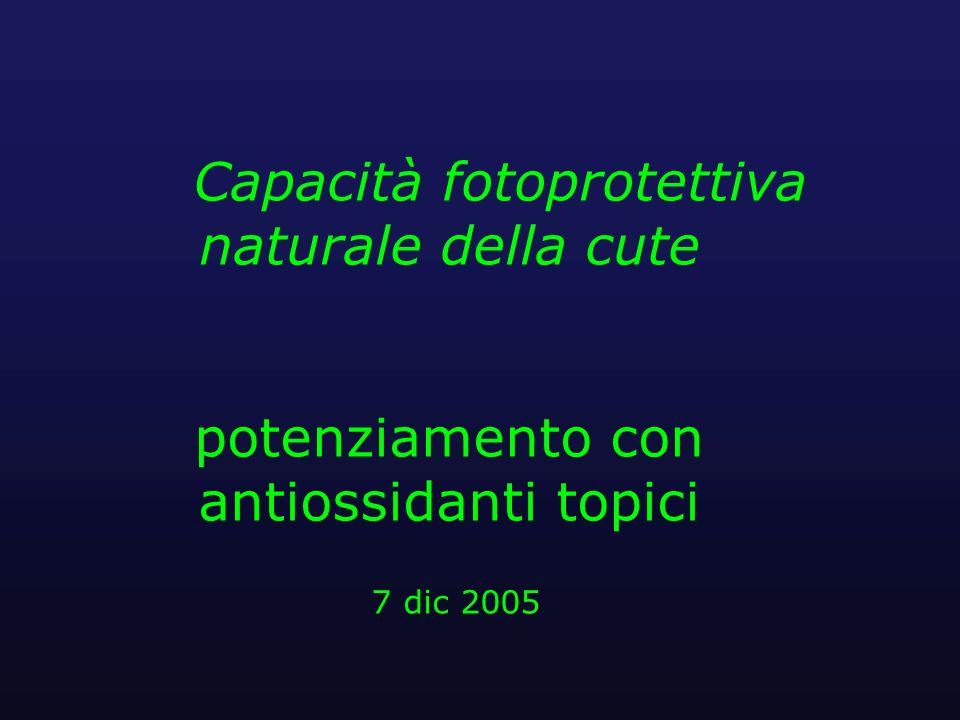 Capacità fotoprotettiva naturale della cute potenziamento con antiossidanti topici 7 dic 2005