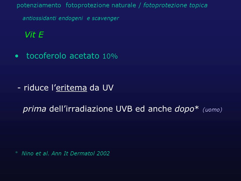 - riduce l'eritema da UV