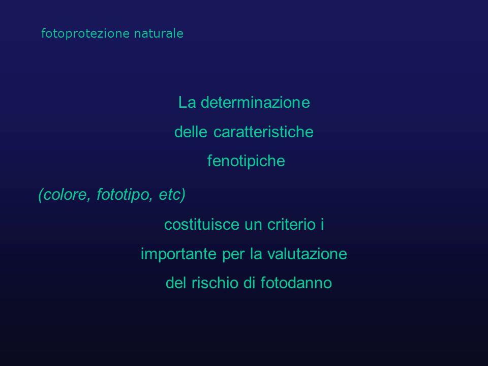 delle caratteristiche fenotipiche (colore, fototipo, etc)