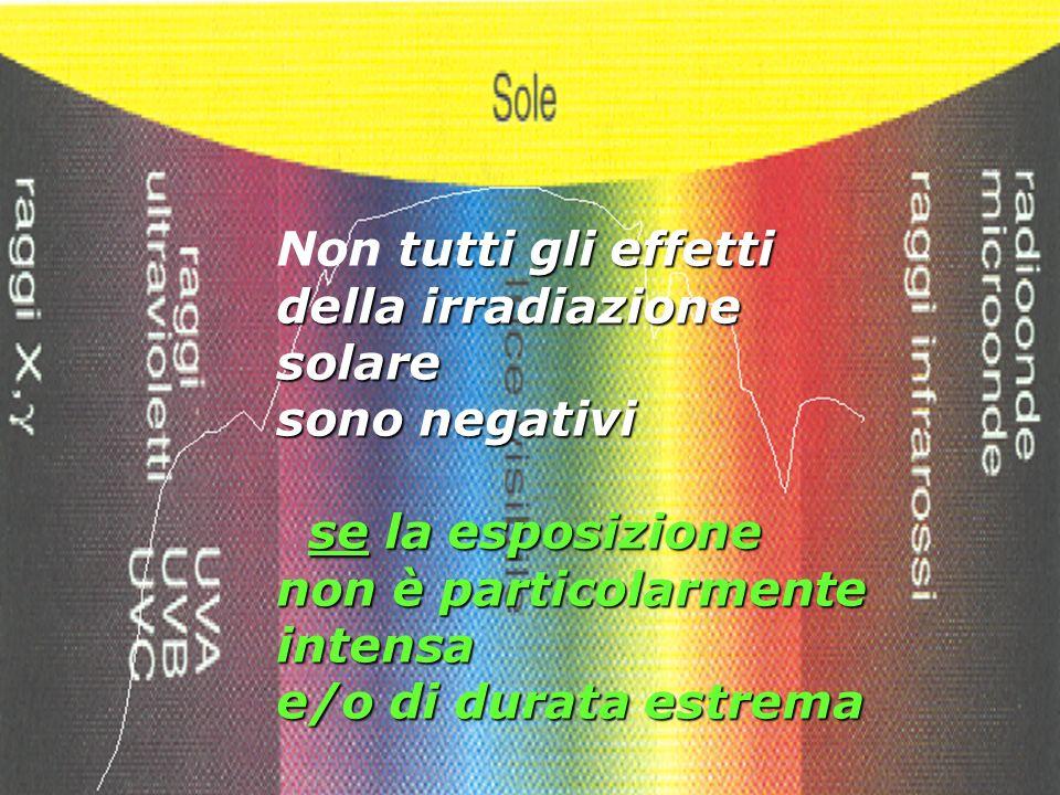Non tutti gli effetti della irradiazione solare. sono negativi. se la esposizione non è particolarmente intensa.