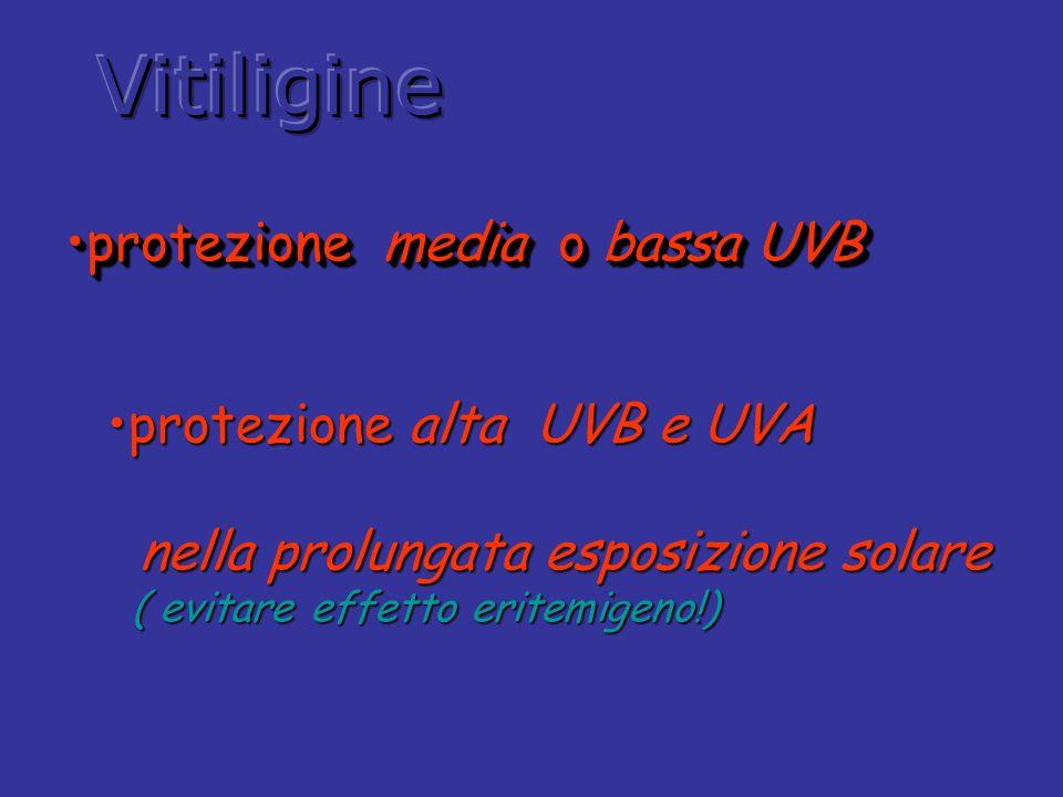 Vitiligine protezione media o bassa UVB protezione alta UVB e UVA