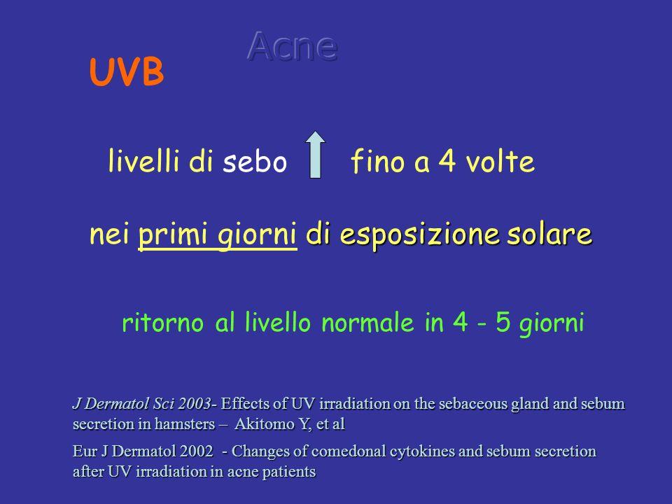 Acne UVB livelli di sebo fino a 4 volte