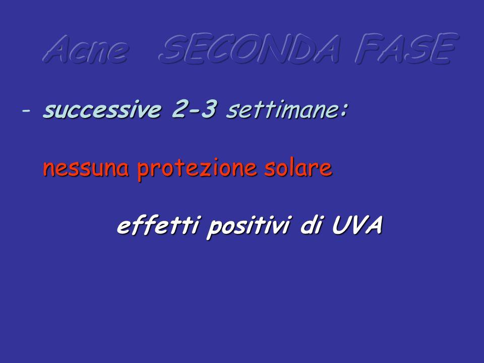 Acne SECONDA FASE successive 2-3 settimane: nessuna protezione solare