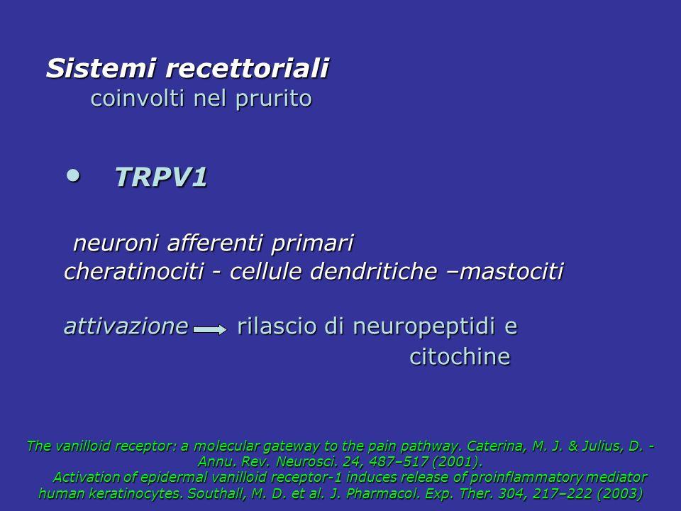 TRPV1 Sistemi recettoriali neuroni afferenti primari