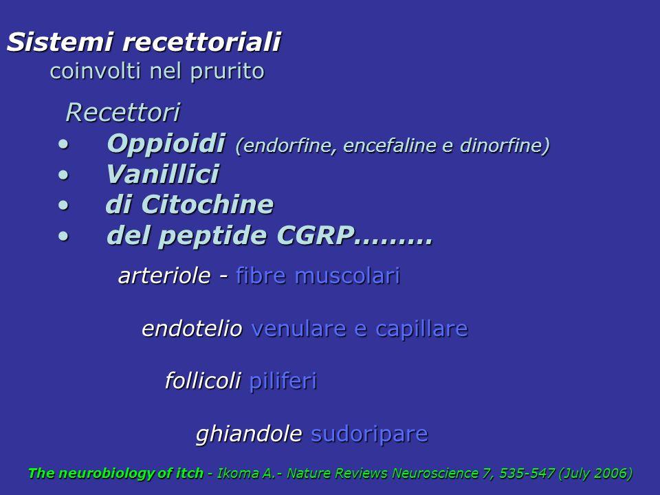 Oppioidi (endorfine, encefaline e dinorfine) Vanillici di Citochine