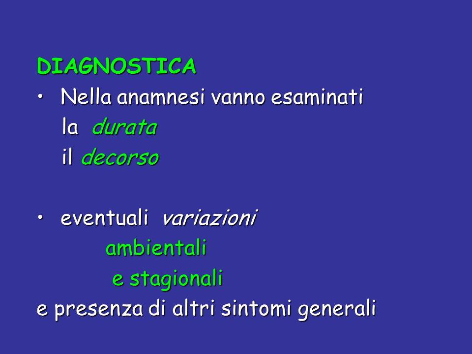 DIAGNOSTICA Nella anamnesi vanno esaminati. la durata. il decorso. eventuali variazioni. ambientali.