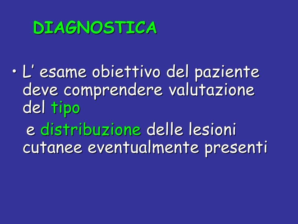 DIAGNOSTICA L' esame obiettivo del paziente deve comprendere valutazione del tipo.