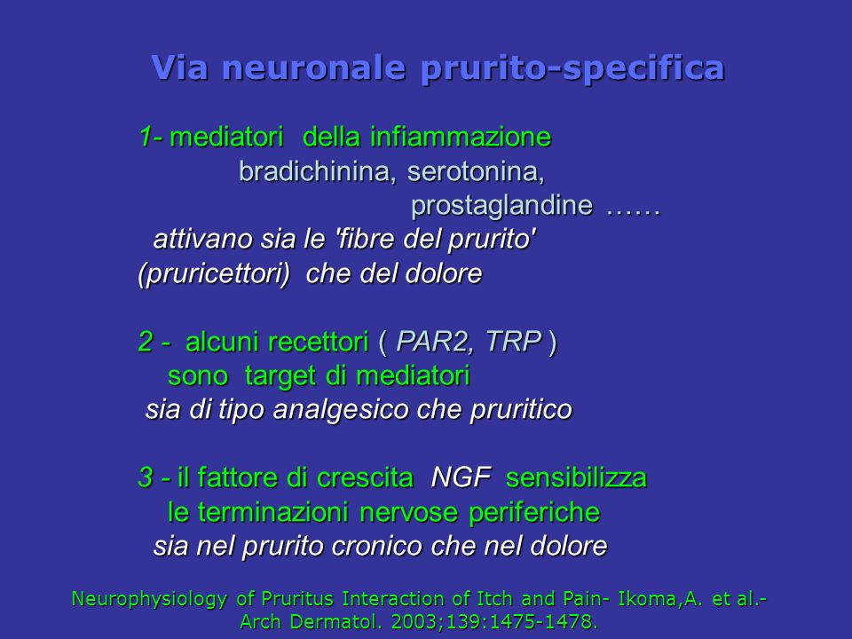 Via neuronale prurito-specifica