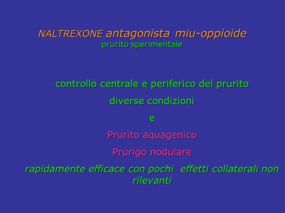 NALTREXONE antagonista miu-oppioide prurito sperimentale