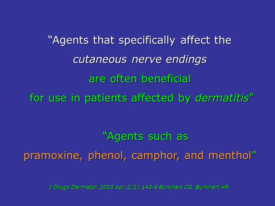 Agents that specifically affect the cutaneous nerve endings