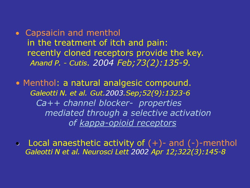 in the treatment of itch and pain:
