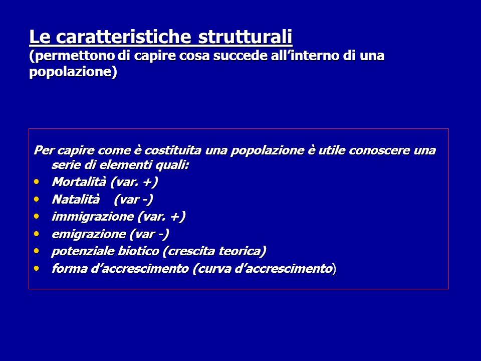 Le caratteristiche strutturali (permettono di capire cosa succede all'interno di una popolazione)