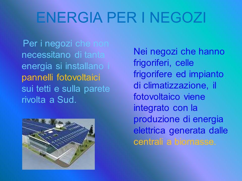ENERGIA PER I NEGOZI Per i negozi che non necessitano di tanta energia si installano i pannelli fotovoltaici sui tetti e sulla parete rivolta a Sud.