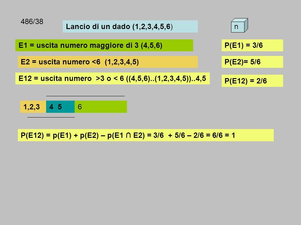 486/38 Lancio di un dado (1,2,3,4,5,6) n. E1 = uscita numero maggiore di 3 (4,5,6) P(E1) = 3/6. E2 = uscita numero <6 (1,2,3,4,5)