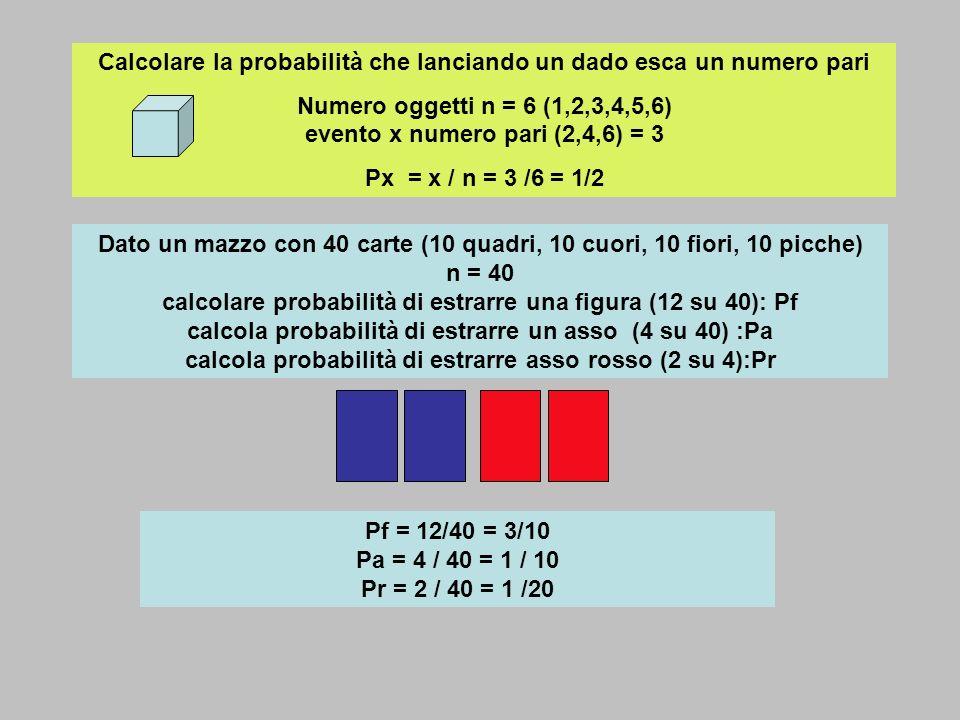 Calcolare la probabilità che lanciando un dado esca un numero pari