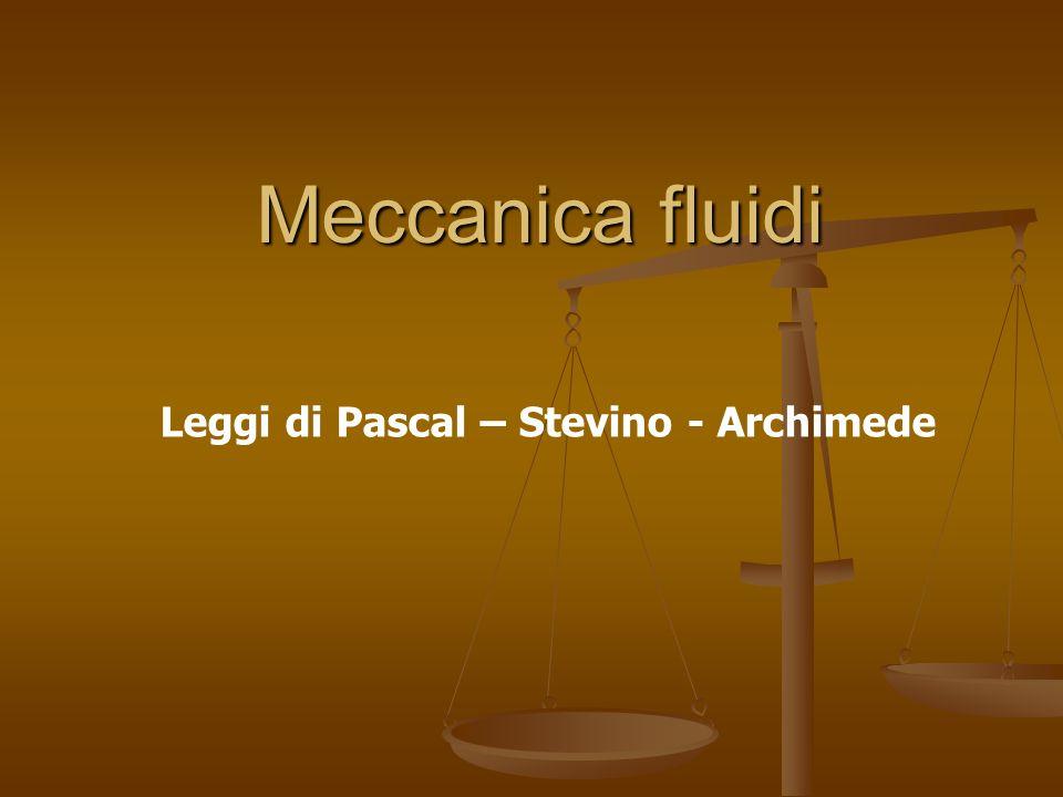 Leggi di Pascal – Stevino - Archimede