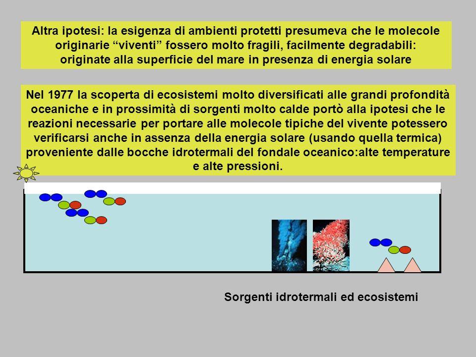 Altra ipotesi: la esigenza di ambienti protetti presumeva che le molecole originarie viventi fossero molto fragili, facilmente degradabili: originate alla superficie del mare in presenza di energia solare