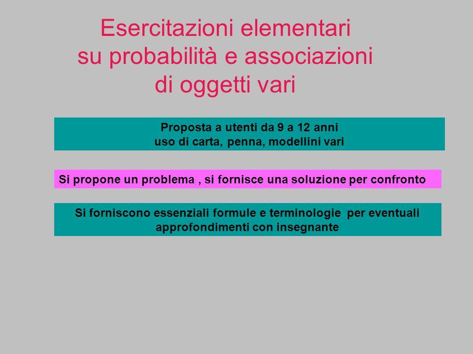 Esercitazioni elementari su probabilità e associazioni di oggetti vari