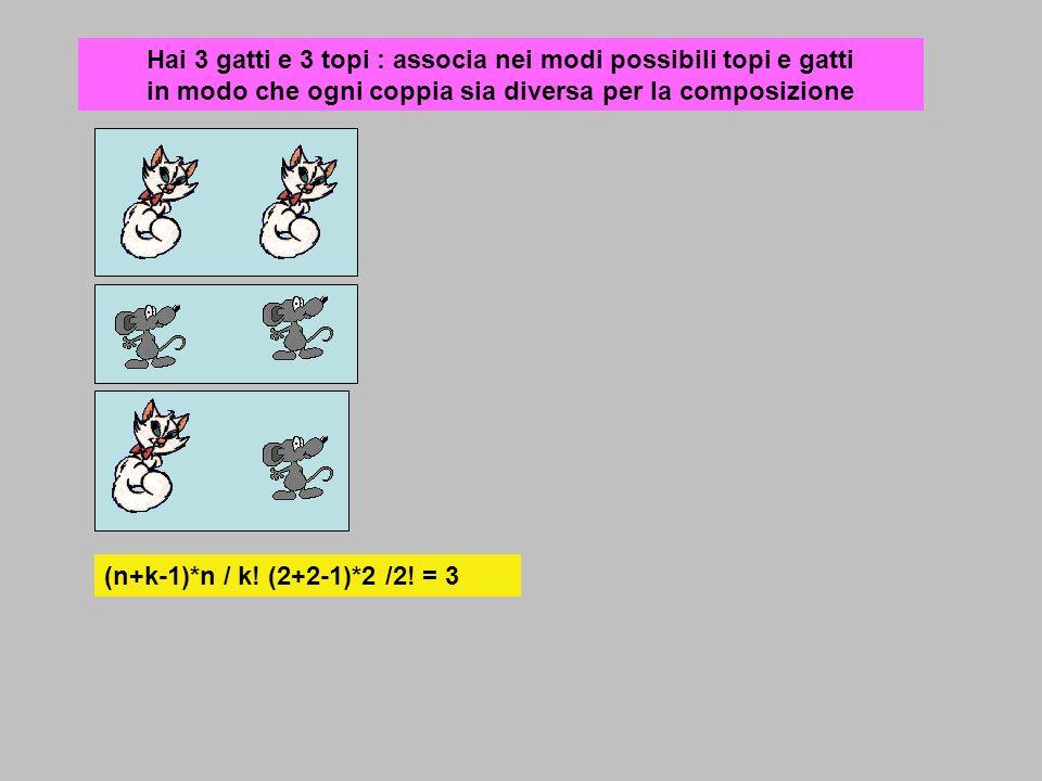 Hai 3 gatti e 3 topi : associa nei modi possibili topi e gatti in modo che ogni coppia sia diversa per la composizione