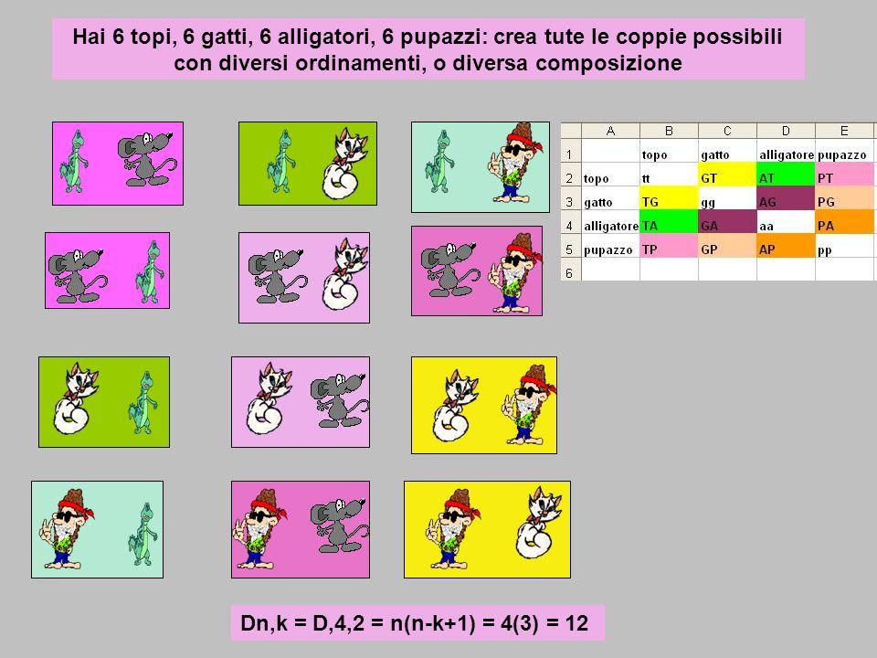 Hai 6 topi, 6 gatti, 6 alligatori, 6 pupazzi: crea tute le coppie possibili con diversi ordinamenti, o diversa composizione